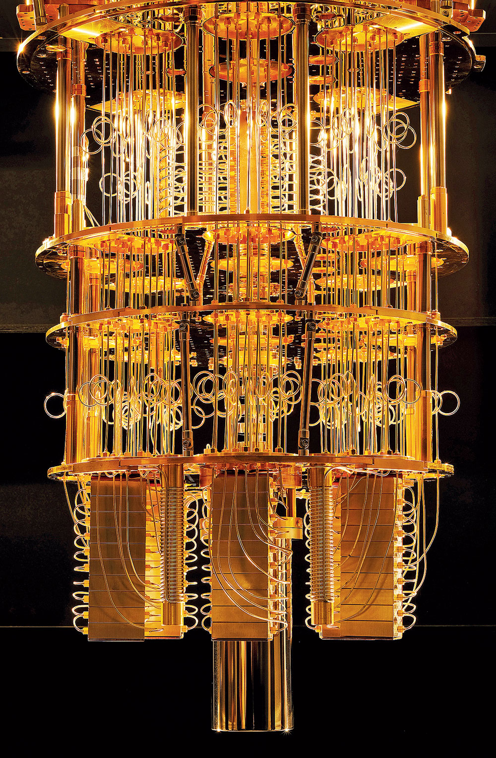 IBM's Q dilution refrigerator, which houses a quantum computer