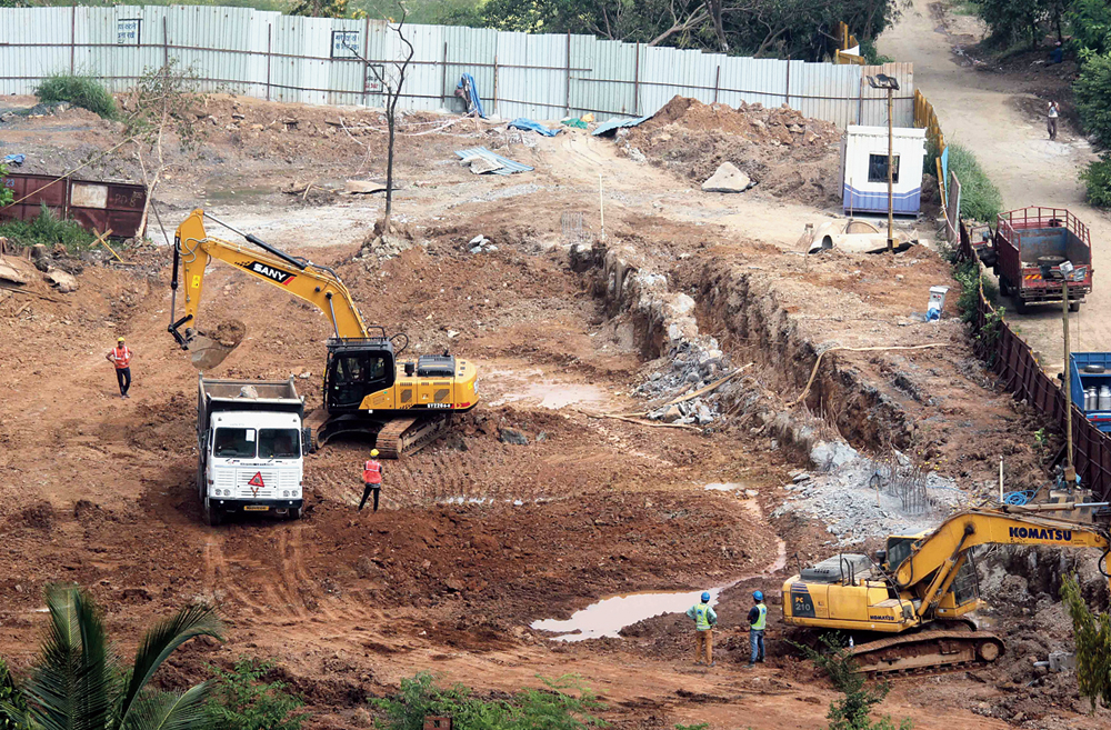 The construction site for the Metro parking shed at Aarey Colony in Mumbai