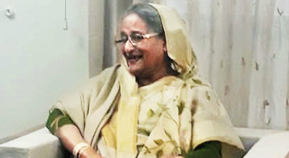 Prime Minister Sheikh Hasina at Sudha Sadan, her residence, in Dhaka.