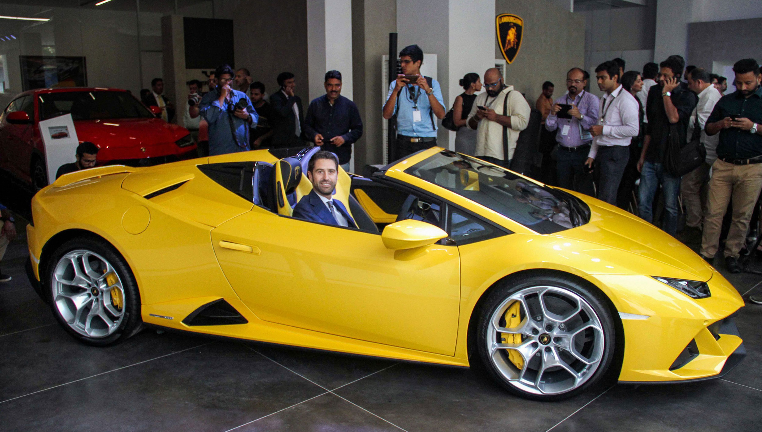Matteo Ortenzi, CEO, Automobili Lamborghini Asia Pacific, with the Huracan EVO Spyder in Mumbai on Thursday.