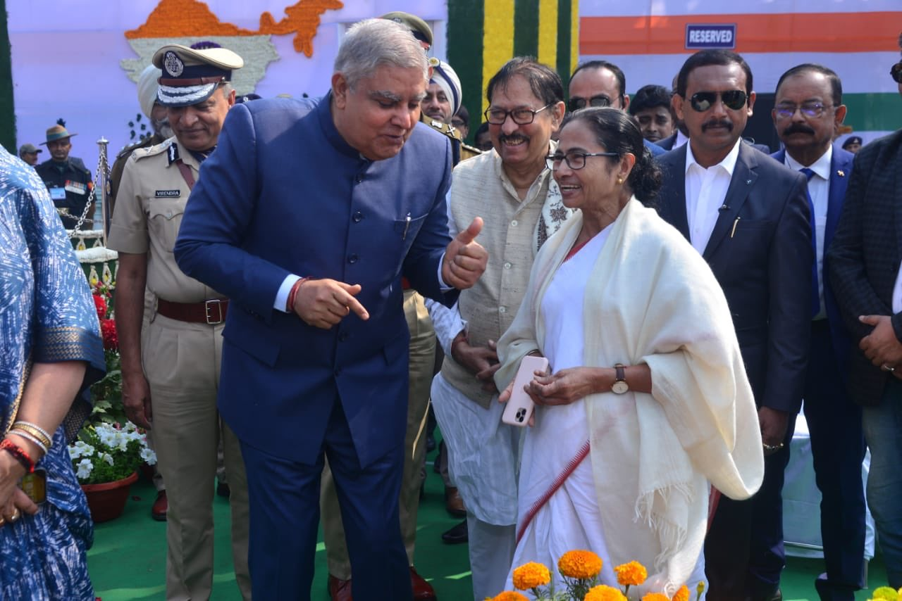 West Bengal Jagdeep Dhankhar interacts with chief minister Mamata Banerjee at Republic Day celebrations, in Kolkata, Sunday, January 26, 2020.