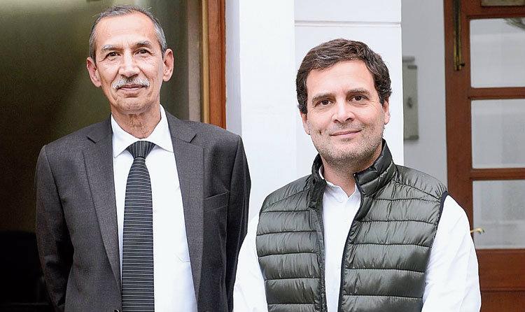 Rahul Gandhi with Lt Gen Hooda in New Delhi on Thursday.