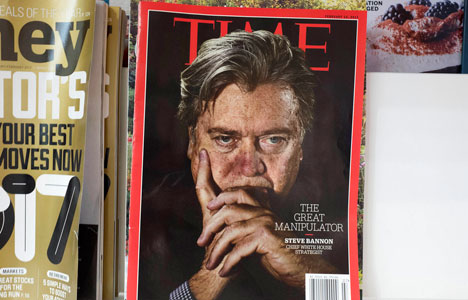 An issue of Time magazine is displayed on a New York newsstand.
