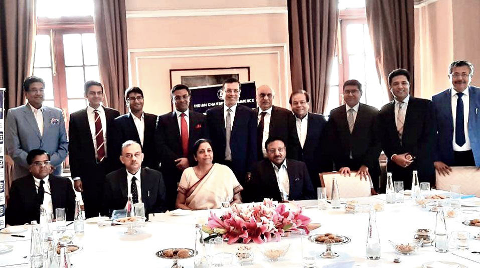 Nirmala Sitharaman with members of the Indian Chamber of Commerce in Calcutta on Sunday.
