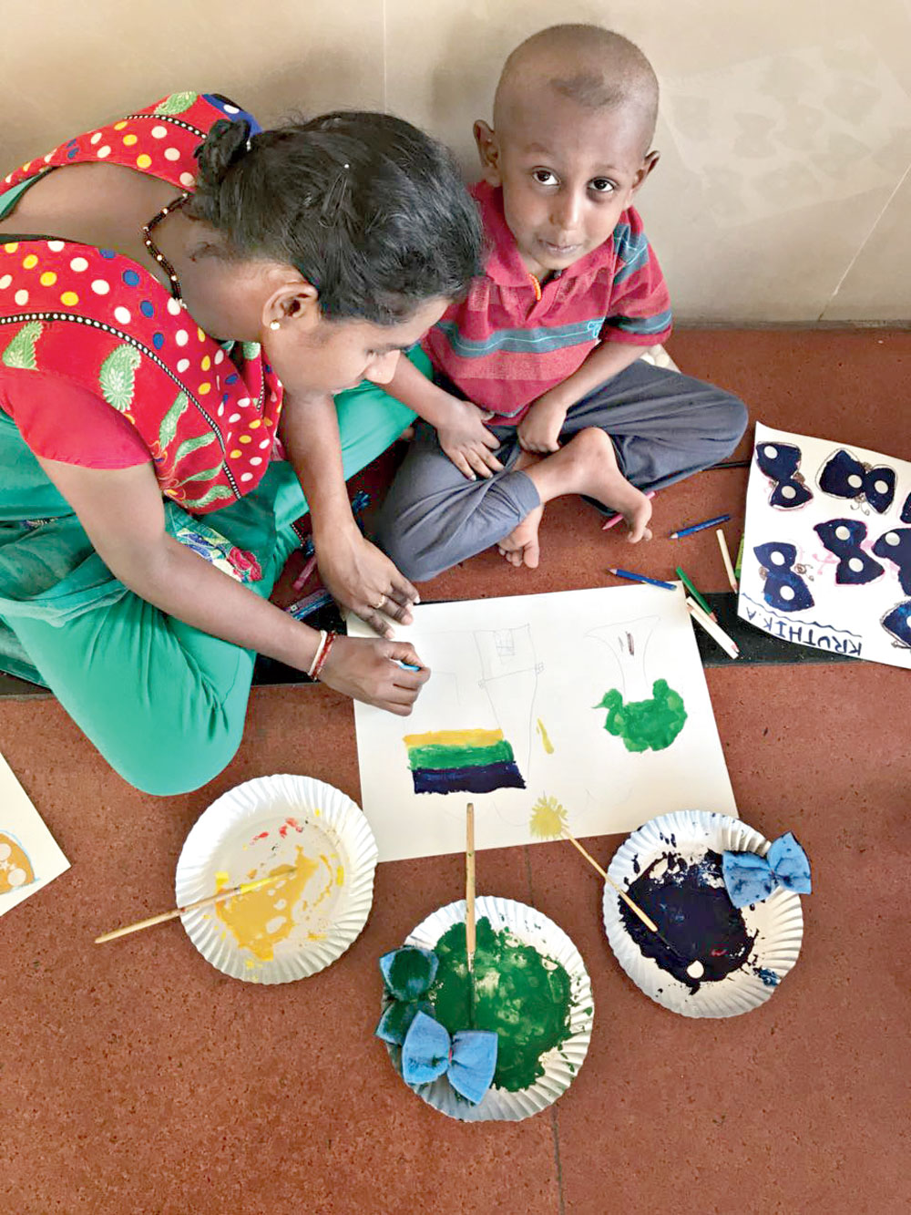 An art therapy session at the Kidwai Memorial Institute of Oncology in Bangalore