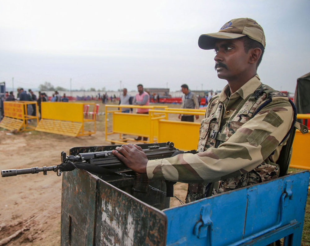 A security guard near the venue of Prime Minister Narendra Modi's election rally in Akhnoor on Wednesday