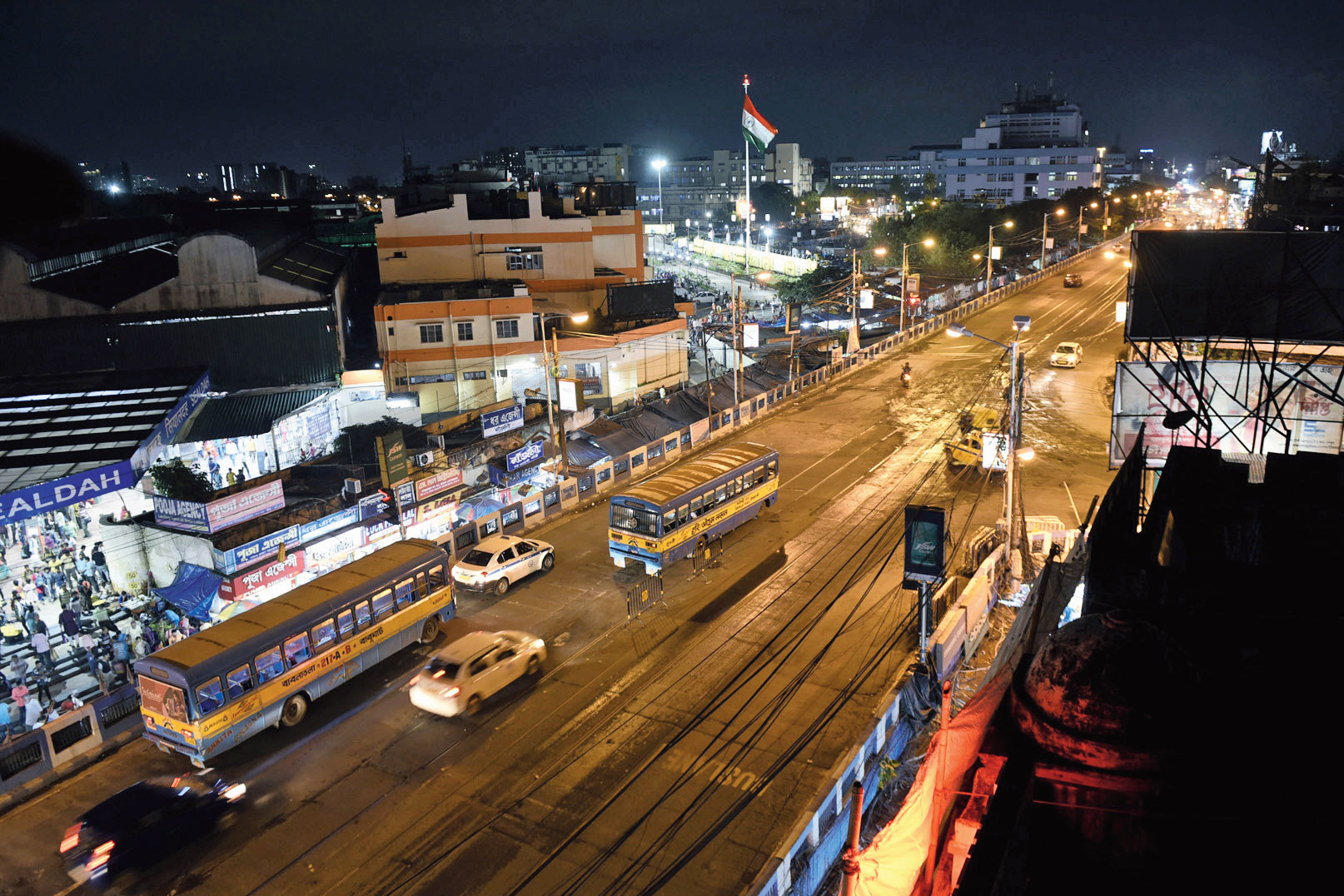 The Sealdah flyover after it was opened to traffic on Sunday evening.