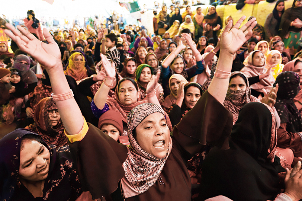 Protesters raise slogans at Shaheen Bagh on Tuesday