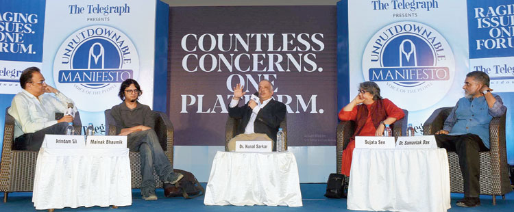 (From left) Mainak Bhaumik, Kunal Sarkar and Sujata Sen at a panel discussion at The Telegraph presents Unputdownable Manifesto, Voice of the People, at the Calcutta Club on Wednesday