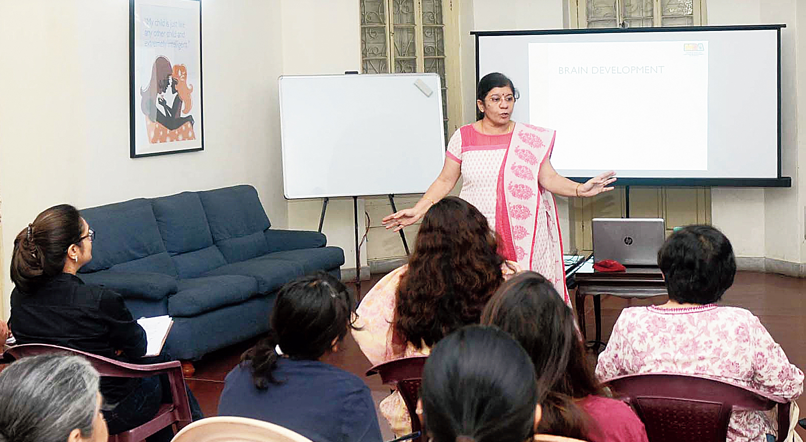 Lata Vasanthakumar, training head at Madras Dyslexia Association conducts a session on Monday.
