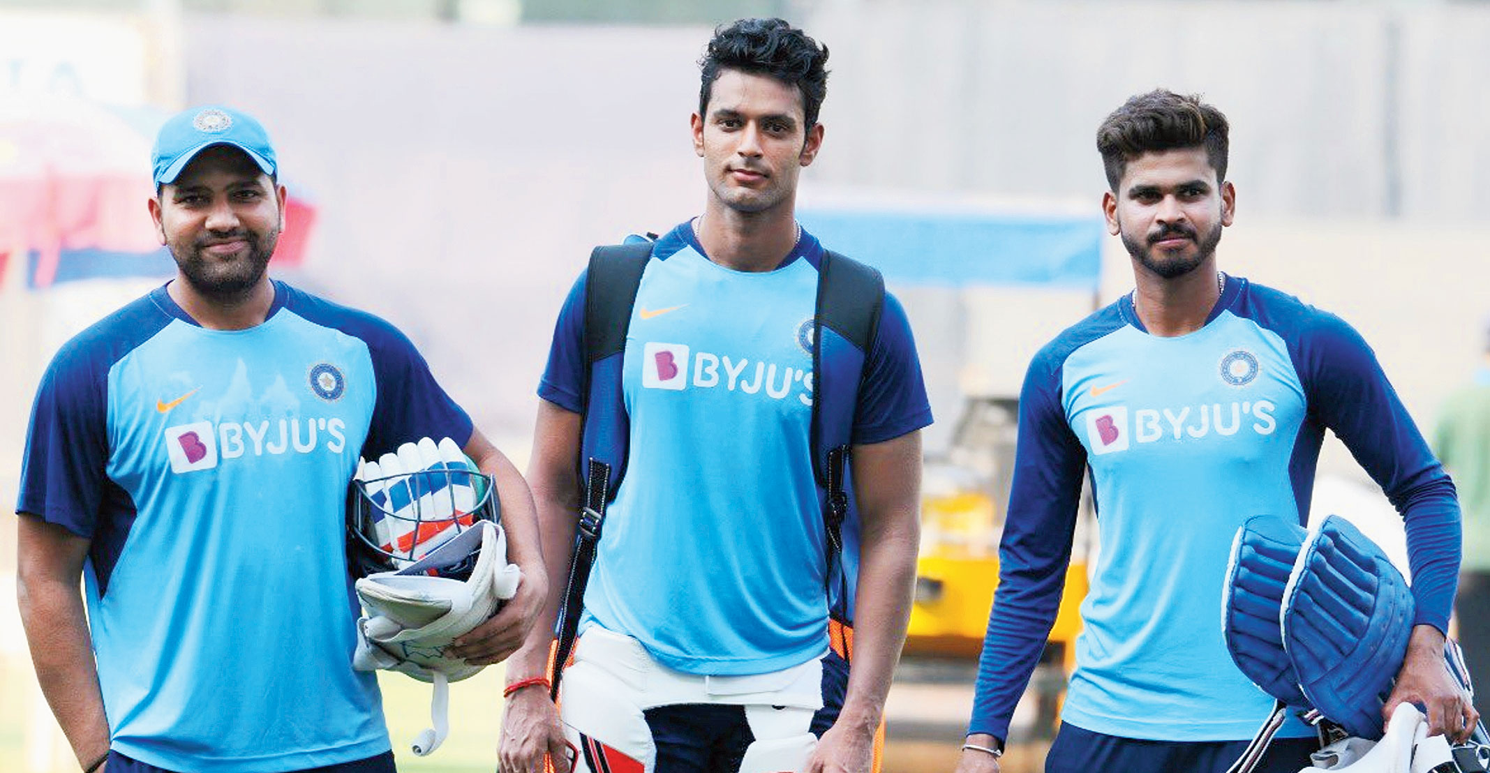 Mumbai boys (from left) Rohit Sharma, Shivam Dube and Shreyas Iyer during training at the Wankhede in Mumbai on Tuesday.
