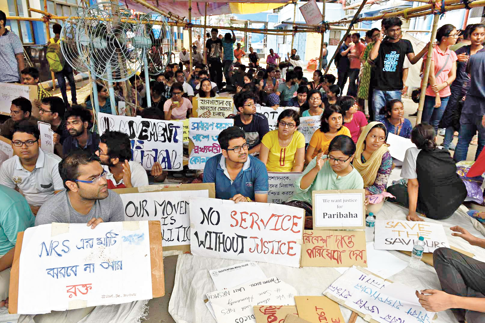 Protesting doctors at NRS Medical College and Hospital on Saturday.