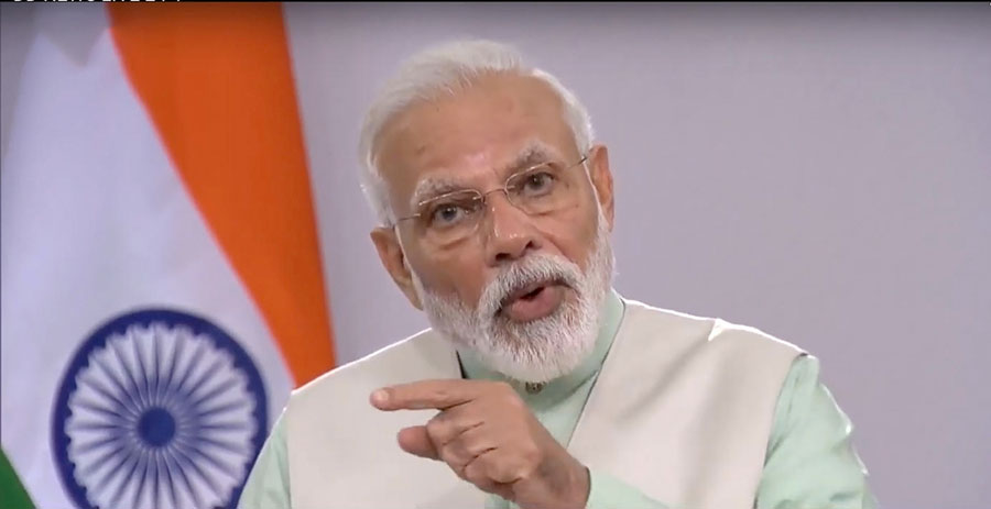 Prime Minister Narendra Modi addresses the nation on COVID-19 via a video message, in New Delhi on Friday, April 3