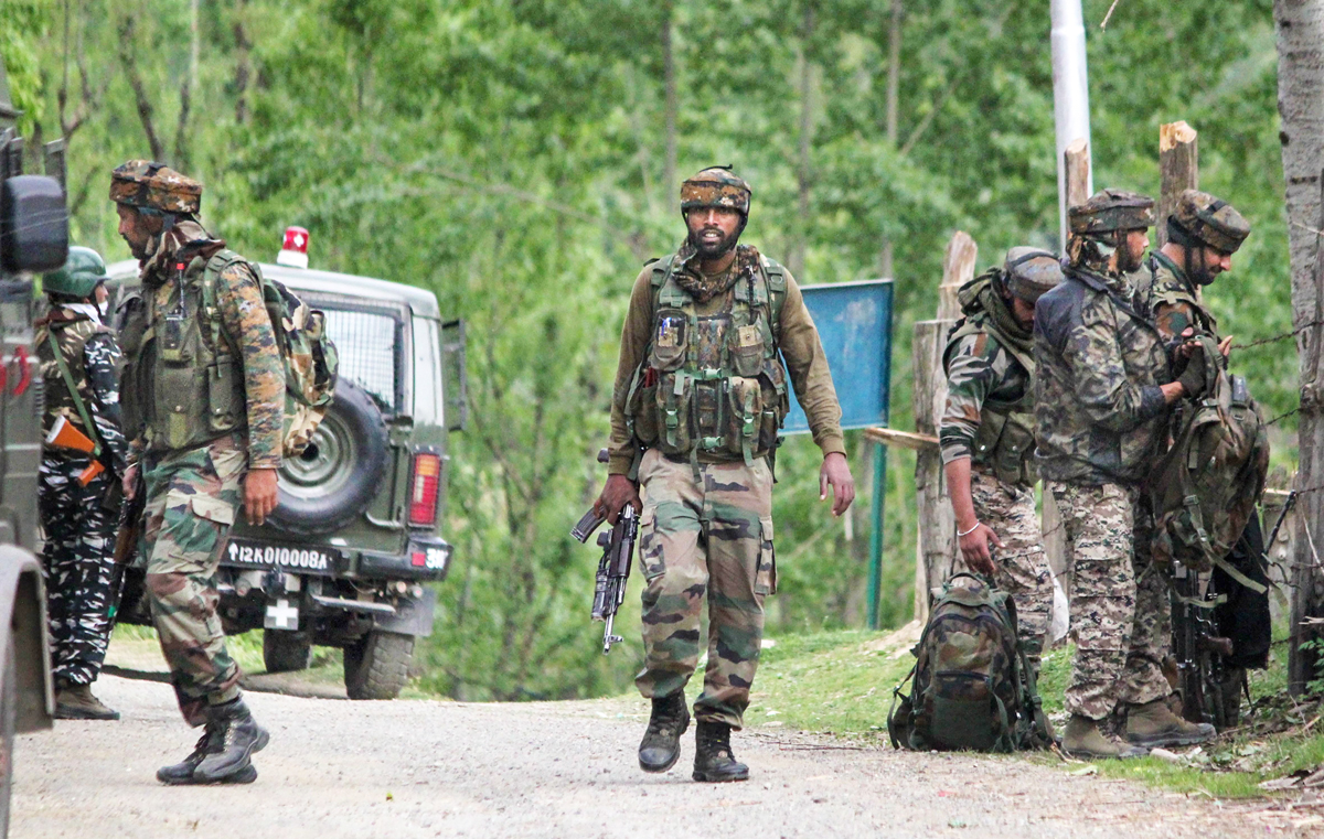 Security personnel during an encounter with the militants in the Chanjmullah area of Handwara in Kupwara district of north Kashmir, Sunday, May 3, 2020. An Army Colonel and a Major were among five security personnel killed in the encounter with terrorists.