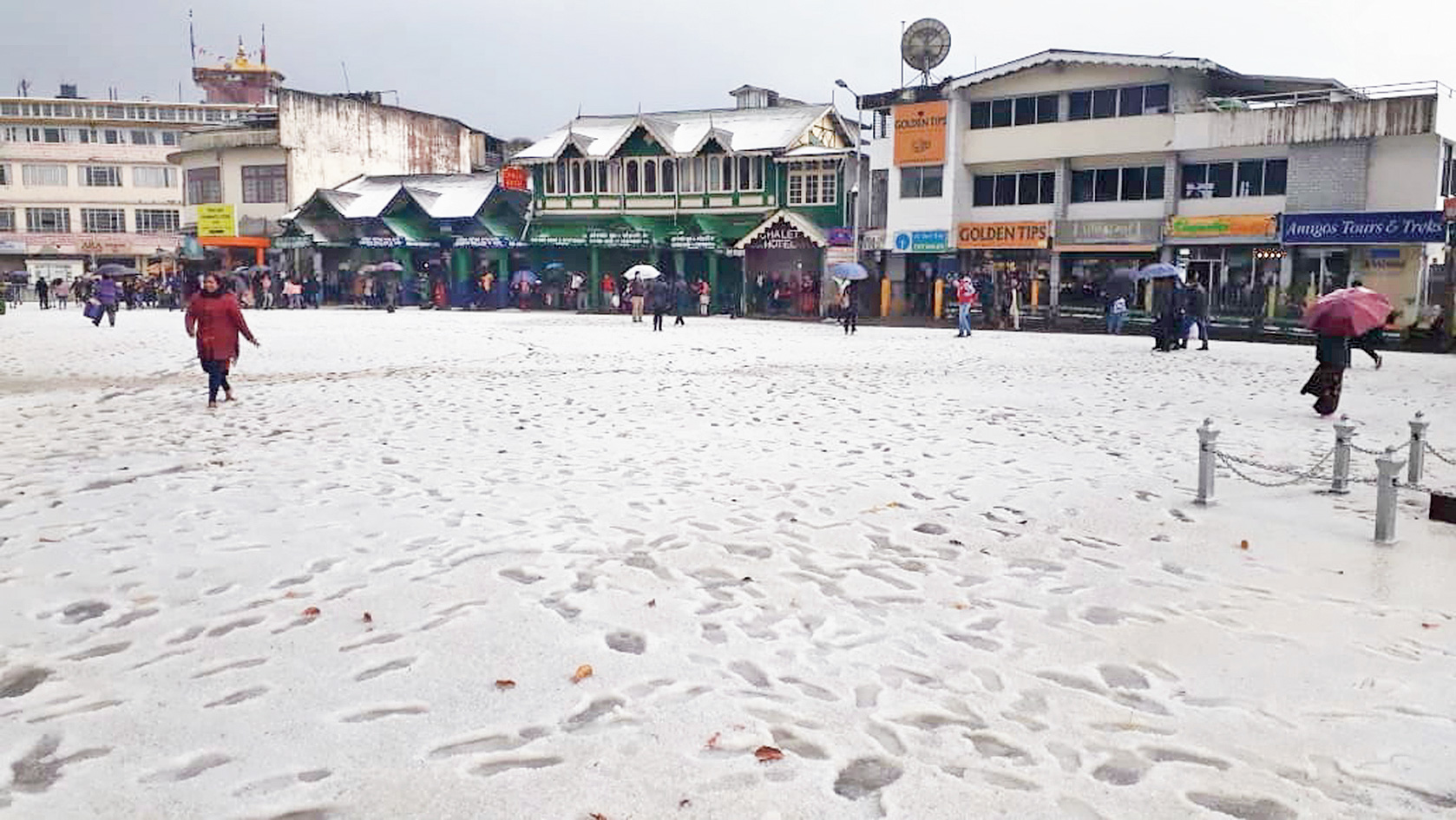 The Chowrasta in Darjeeling covered in a sheet of hailstones on Saturday.