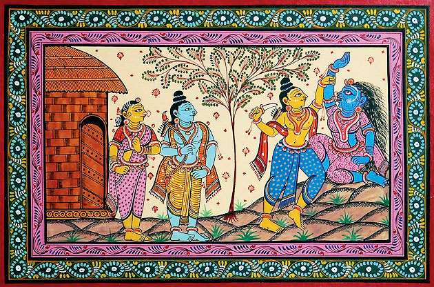 A patachitra depicting Lakshmana approaching Shurpanakha