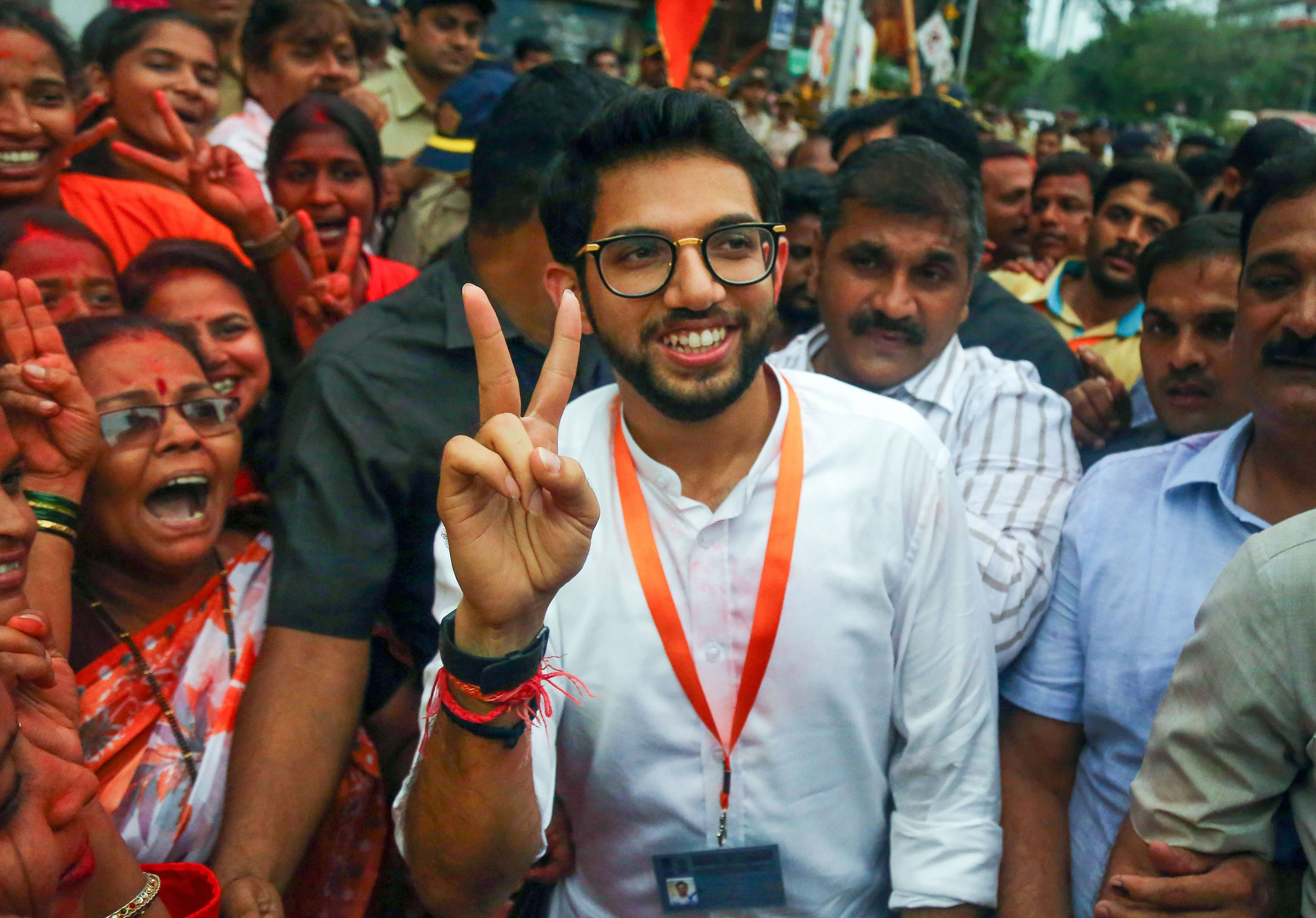 Shiv Sena's Aaditya Thackeray. His party claimed that the BJP had promised a 50-50 sharing of the chief minister's chair, while the BJP said that it did not.