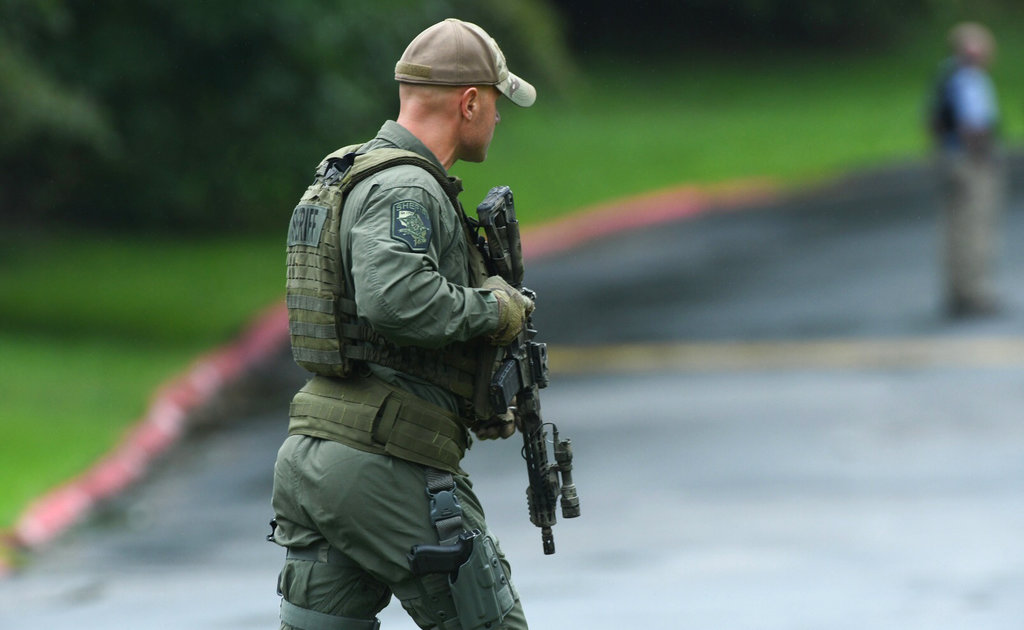 Authorities respond to a shooting in Maryland, US, on Thursday. The FBI is describing it as an active shooter situation.