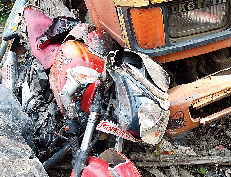 The motorcycle, which Dayamayi Mandal and her husband and son were riding, after the crash.