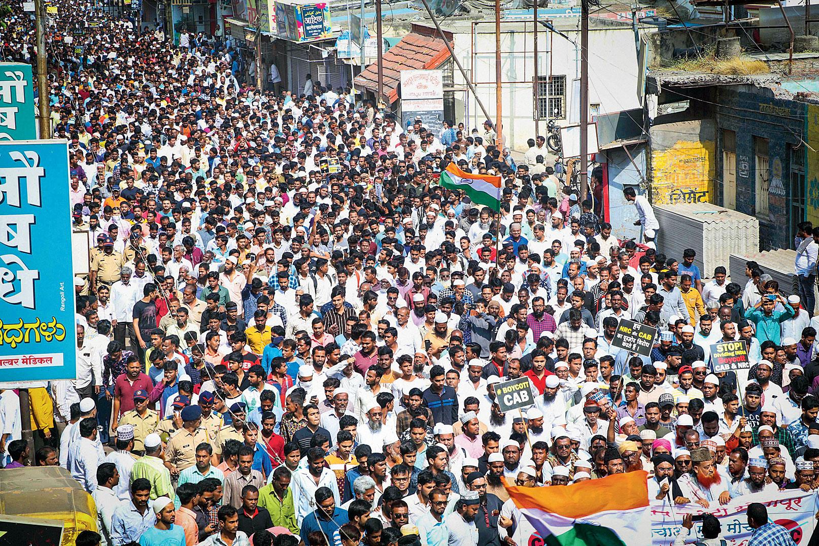 Protest in Solapur, Maharashtra, on Wednesday.