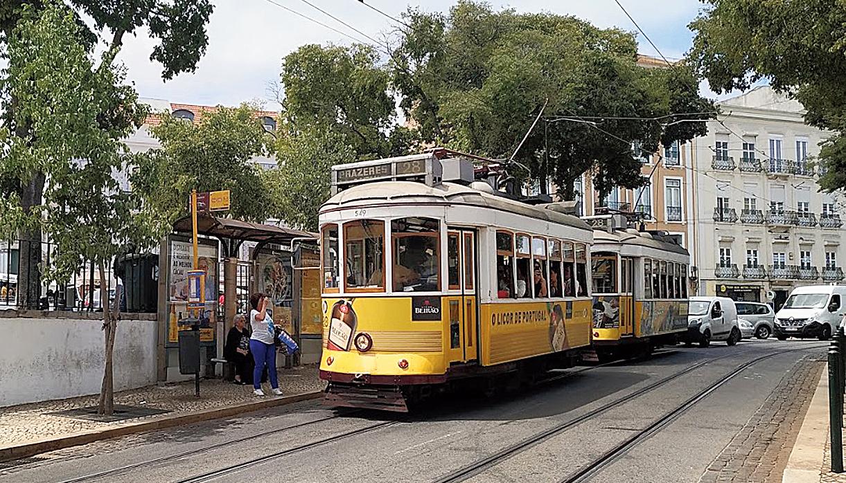 A yellow tram in Lisbon