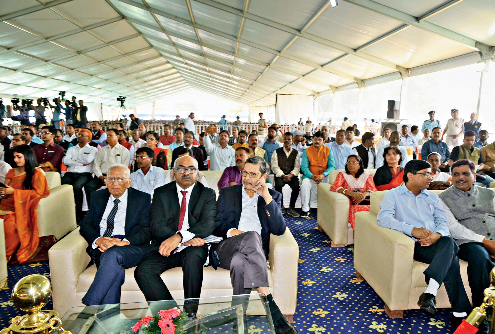 Tata Steel vice-president (corporate services) Sunil Bhaskaran (centre) and other Tata group officials in Kanke, Ranchi, on Saturday.
