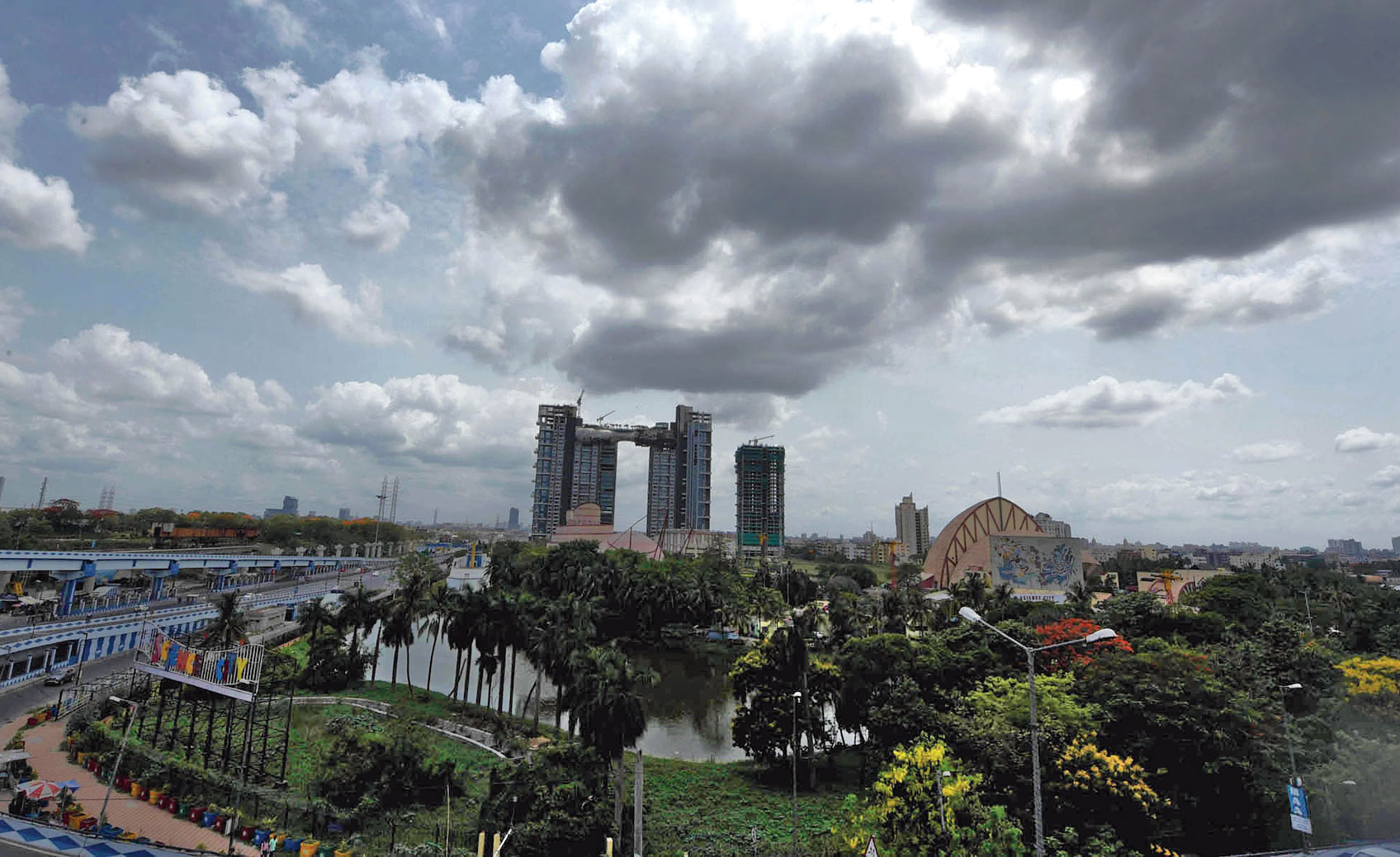 Clouds hover over the city on Wednesday afternoon.
