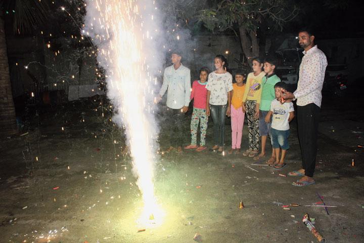 Residents of Mango, Jamshedpur, burst crackers on Monday.