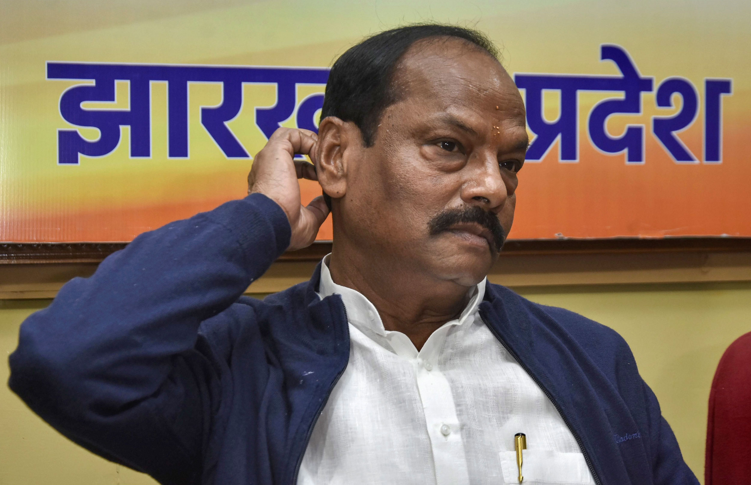 Raghubar Das at a press conference ahead of Jharkhand Assembly election results in Ranchi on Monday.