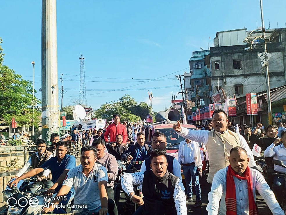 All Moran Students Union activists take out a bike rally from Dirak Gate on Saturday