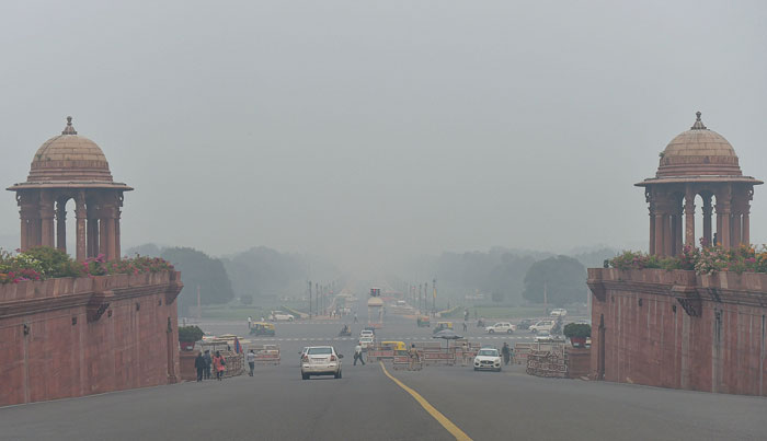 The Rajpath shrouded in smog on Friday