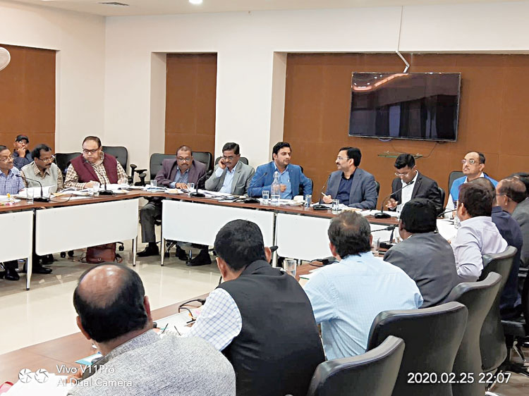 Officials at the review meeting of the urban development projects in Ranchi on Wednesday.