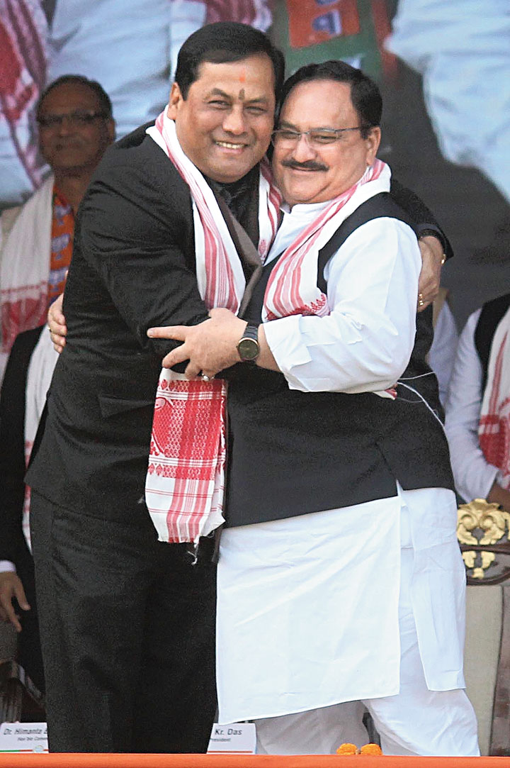 Assam chief minister Sarbananda Sonowal with J.P. Nadda in Guwahati on Saturday.