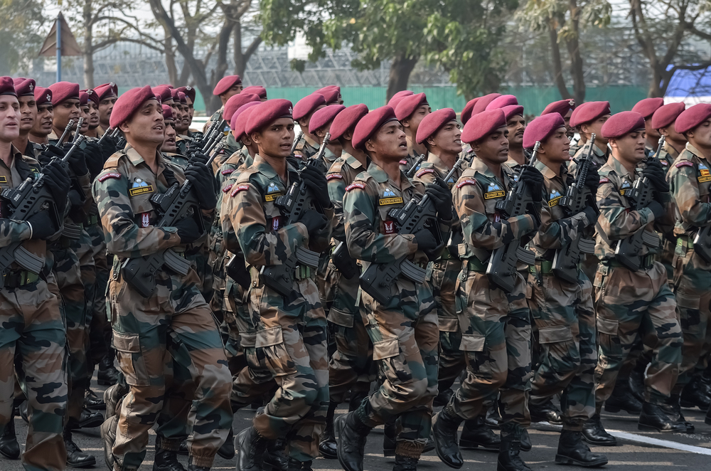 Calcutta, India - January 24, 2016: Indian army practice their parade during republic day.