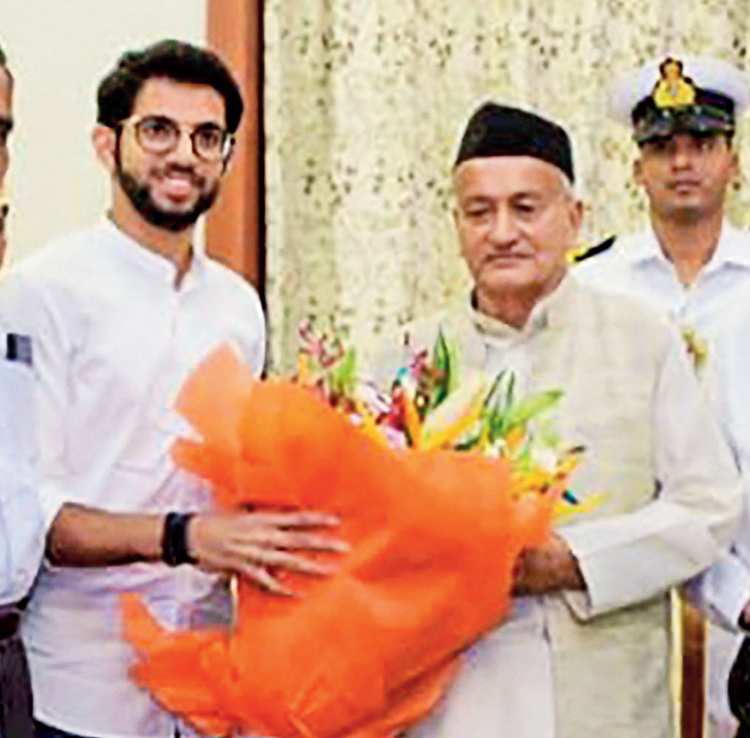 Sena leader Aaditya Thackeray with governor BS Koshyari at the Raj Bhavan on Monday.