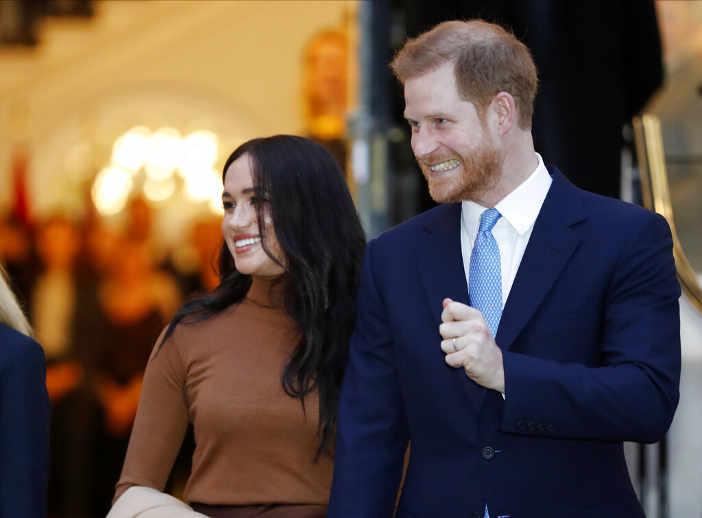 In this Tuesday January. 7, 2020, file photo, Britain's Prince Harry and Meghan, Duchess of Sussex, leave after visiting Canada House in London after their recent stay in Canada.