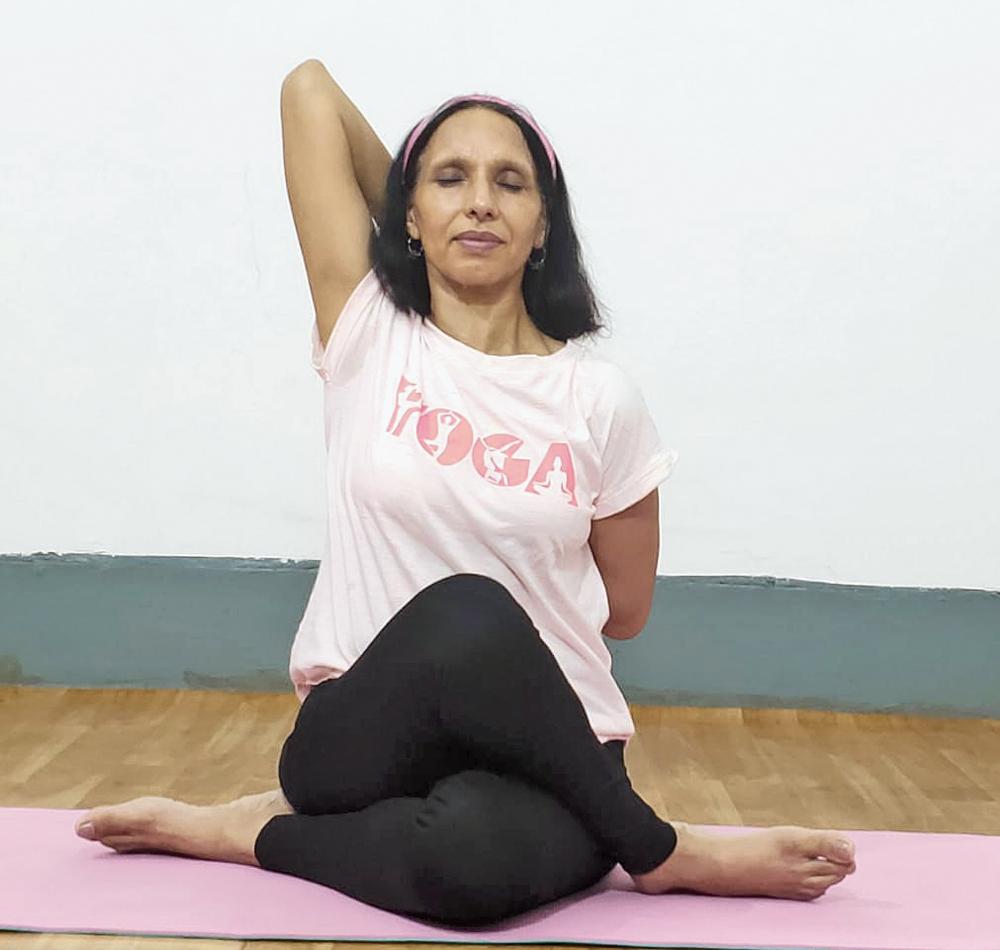 Premlata Agarwal does yoga at her residence in Jamshedpur on Thursday