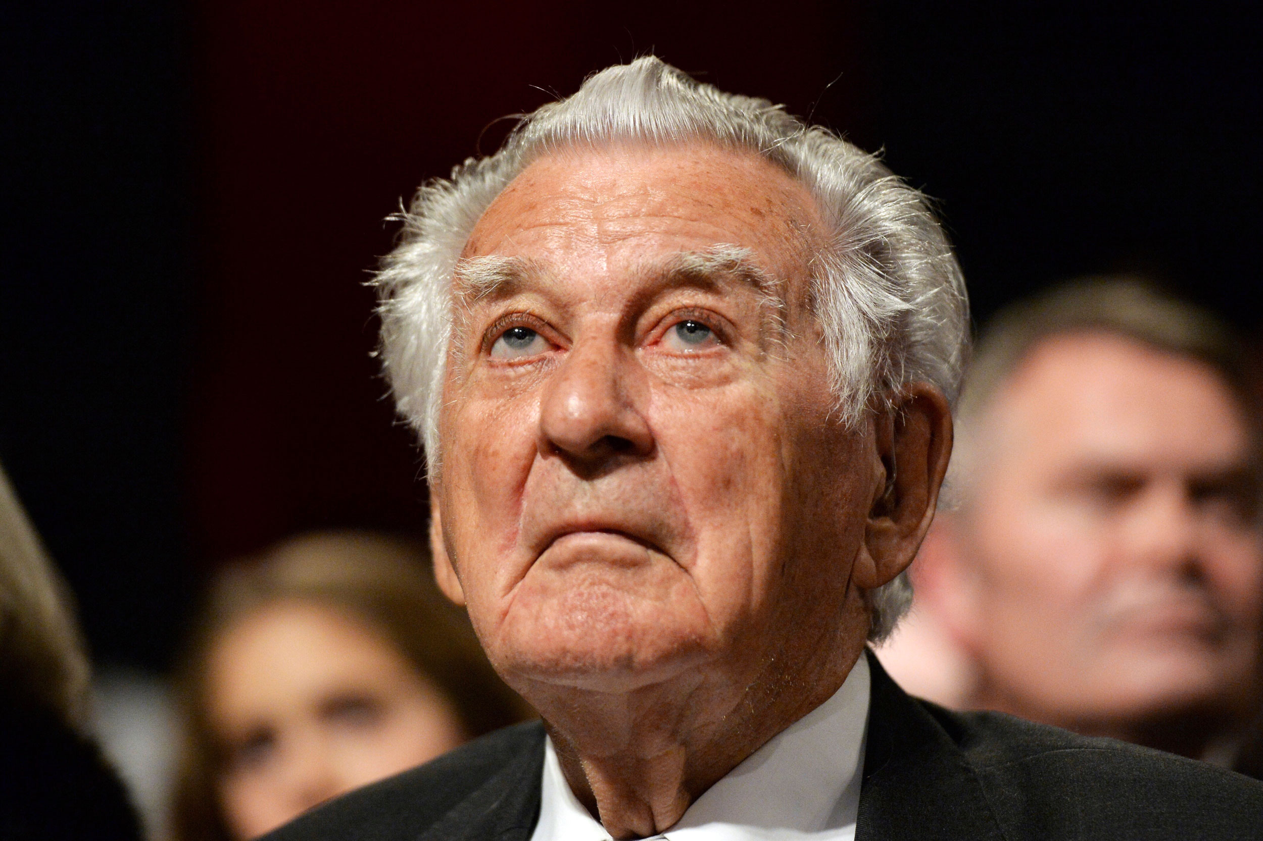 Australia former Prime Minister Bob Hawke listens during a campaign launch in Sydney on June 19, 2016.