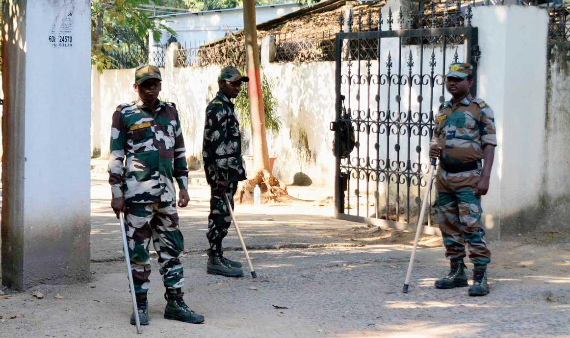 Jawans guard health minister Ramchandra Chandravanshi's house in Doranda, Ranchi, on Sunday.