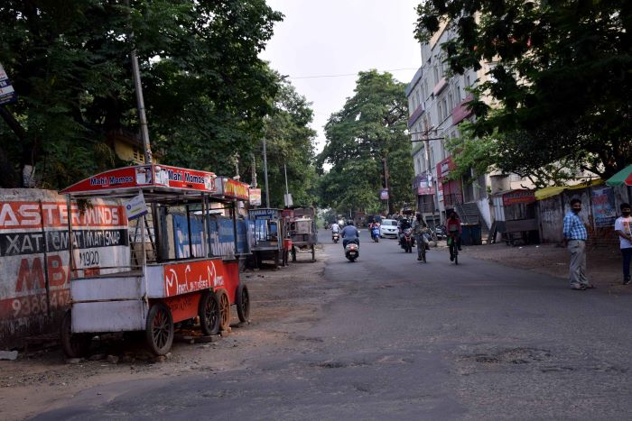 The deserted street food vendor zone in Bistupur on Monday