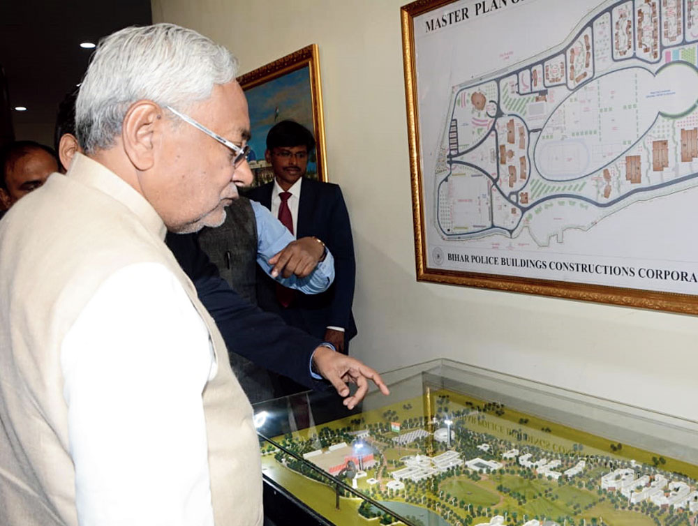 Chief minister Nitish Kumar looks at a model of the Bihar Police Academy in Rajgir on Monday.