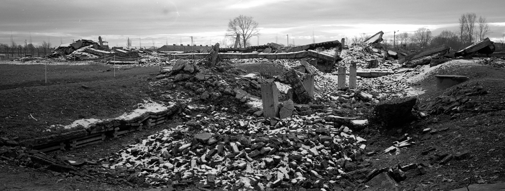 The remains of a gas chamber and crematorium at the former Nazi death camp of Auschwitz-Birkenau or Auschwitz II in Oswiecim