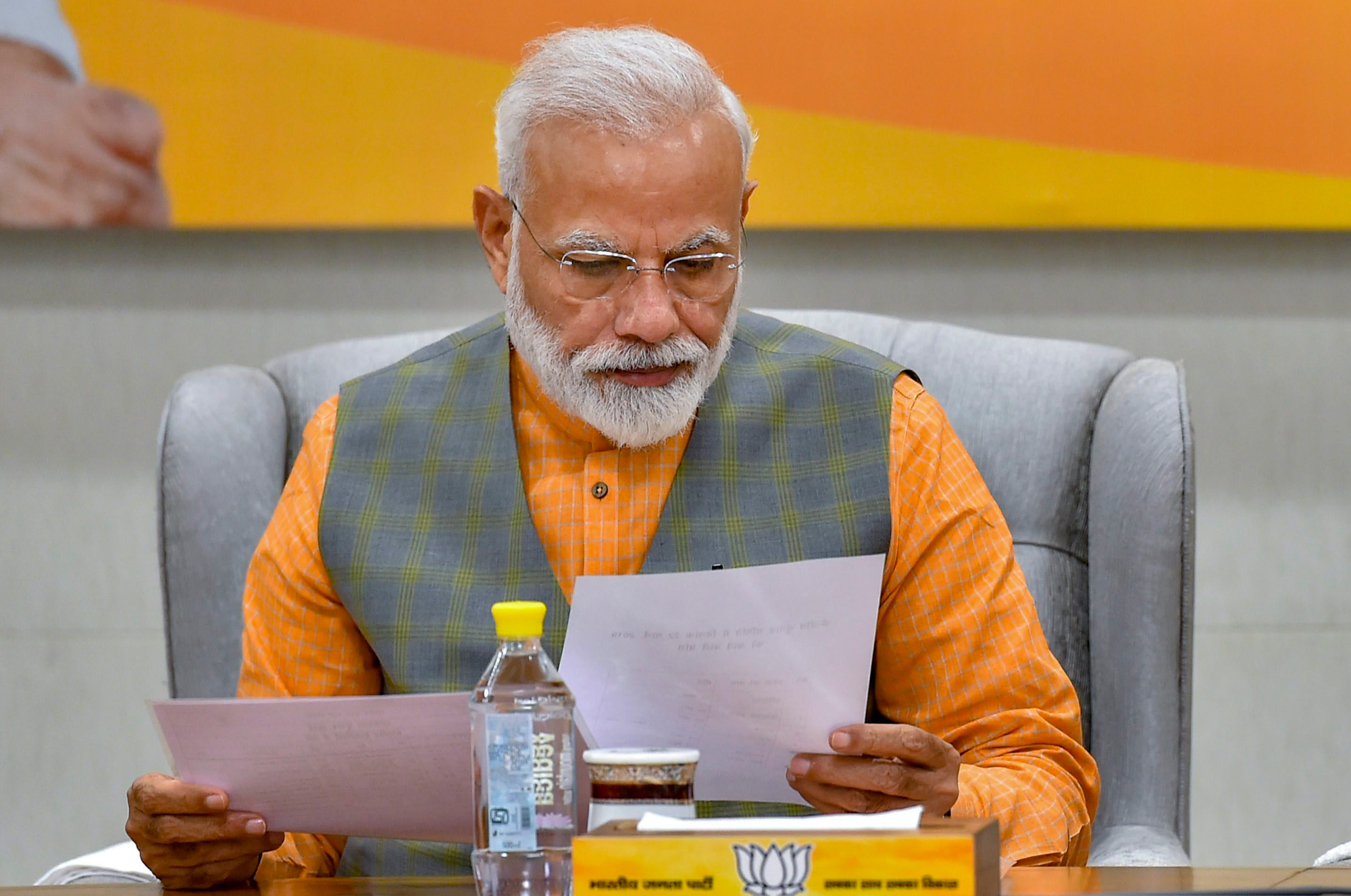 Prime Minister Narendra Modi during the BJP Central Election Committee (CEC) meeting for the upcoming Lok Sabha elections, at BJP headquarters in New Delhi on Friday, March 22, 2019.