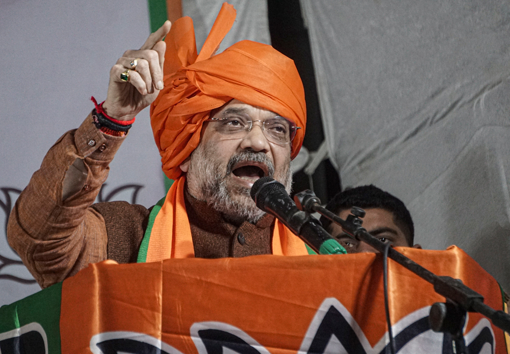 Amit Shah at Matiala in New Delhi on Thursday. The Union home minister had sought to underline in Lucknow earlier this week that the government would not take back the CAA despite the nationwide protests