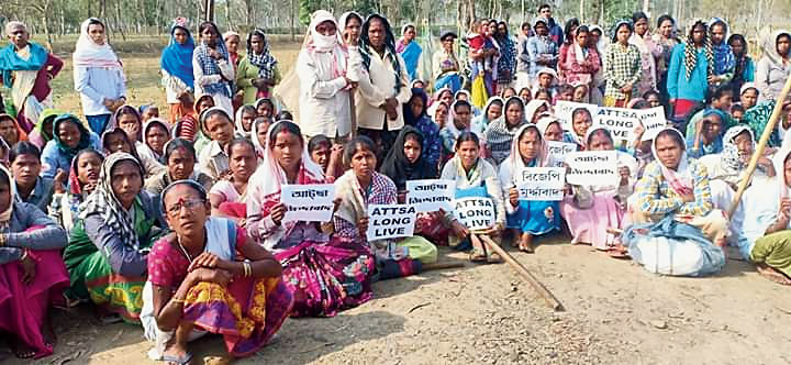 Tea garden workers stage a demonstration in Dibrugarh on Friday.