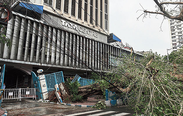 The Tata Centre gate damaged in the cyclone in Calcutta on Thursday.