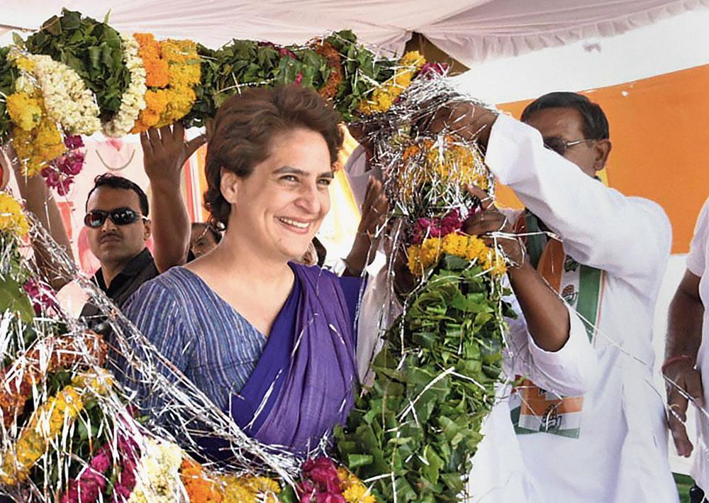 Priyanka Gandhi Vadra at a rally at Gursarai in Jhansi.