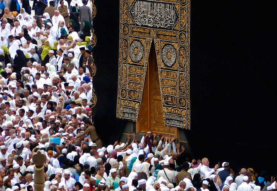 Pilgrims walk around the Kaaba at the Grand Mosque in Mecca, Saudi Arabia.