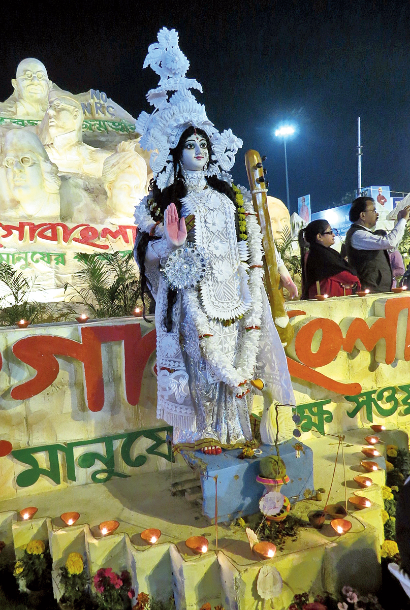 A Saraswati idol in front of the Jago Bangla stall which was worshipped