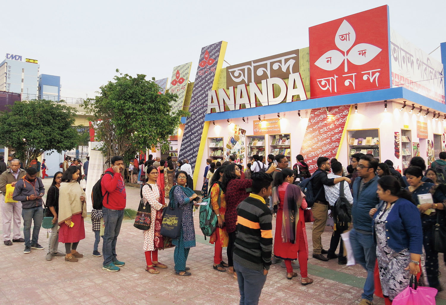 A long queue in front of Ananda Publishers on Tuesday afternoon.